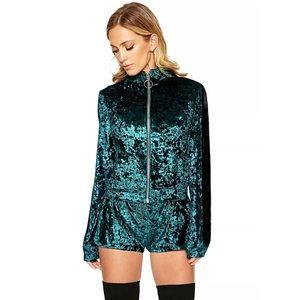Naked Wardrobe Short Velvet Emerald Track Suit Set